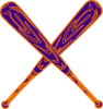 Baseball Bat Purple And Orange Clip Art
