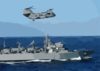 A Ch-46 Sea Knight Assigned To The  Gunbearers  Of Helicopter Combat Support Squadron One One (hc-11), Detachment One, Flies Alongside The Fast Combat Support Ship Uss Rainier (aoe 7). Clip Art