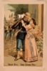 [man Wearing Military Uniform, Holding Rifle, And Embracing Woman With Troops In Background] Clip Art