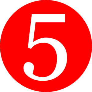 Red, Rounded,with Number 5 Clip Art