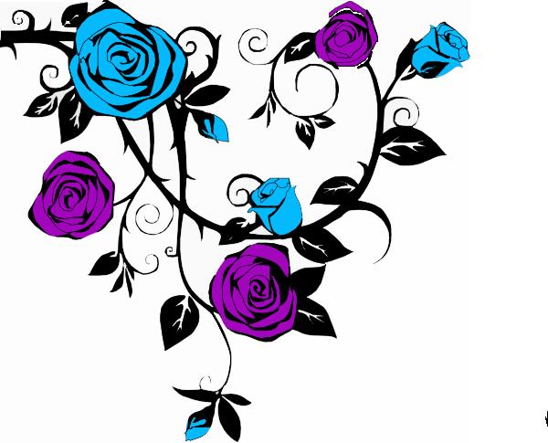 Blue And Purple Rose Clip Art At Clker Com Vector Clip